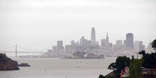 Alcatraz Island, San Francisco - Oakland Bay Bridge -  live webcam , California San Francisco