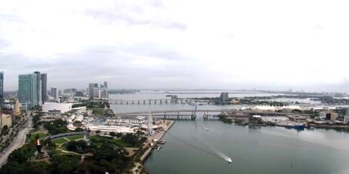 Bayfront Park, view of Biscayne Bay -  live webcam , Florida Miami