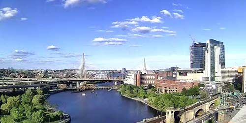 Leonard Zakim Bridge in honor Battle of Bunker Hill -  live webcam , Massachusetts Boston