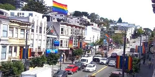 Traffic on Castro Street -  live webcam , California San Francisco