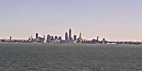 Downtown from Lake Erie -  live webcam , Ohio Cleveland