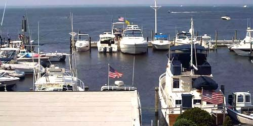 Marina with yachts in the Great South Bay -  live webcam , New York New York