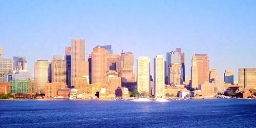 Port de Boston, vue sur le Quartier Financier -  Webсam , Massachusetts Boston