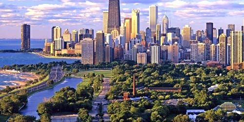 Panorama from above -  live webcam , Illinois Chicago
