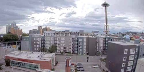 Space Needle is a symbol of the city of Seattle -  live webcam , Washington Seattle